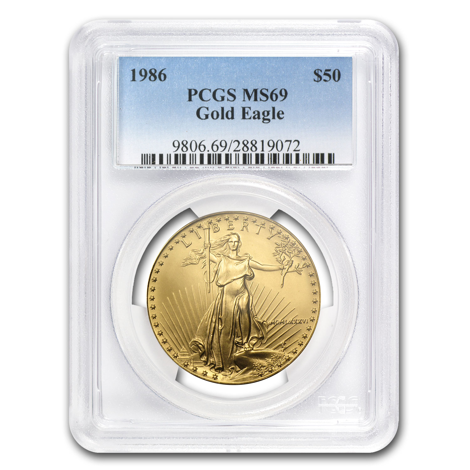 1986 1 oz Gold American Eagle MS-69 PCGS